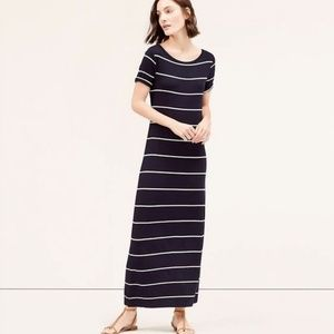 [LOFT] Boatneck Striped Maxi Dress